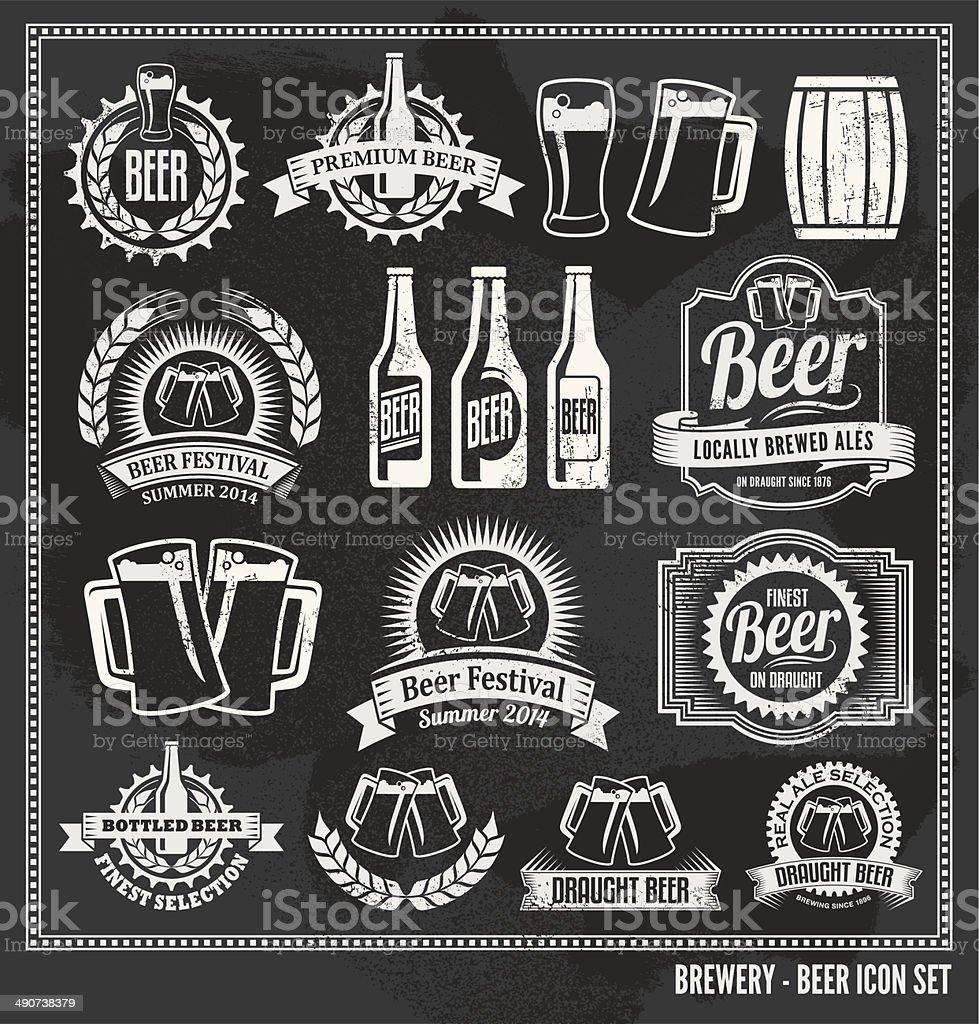 Chalkboard Beer Icon Vector Design Set - blackboard vector art illustration