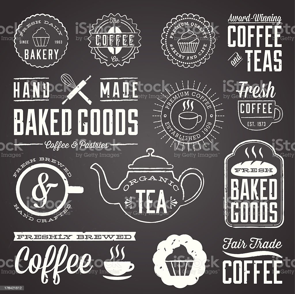 Chalkboard Cafe and Bakery Designs vector art illustration