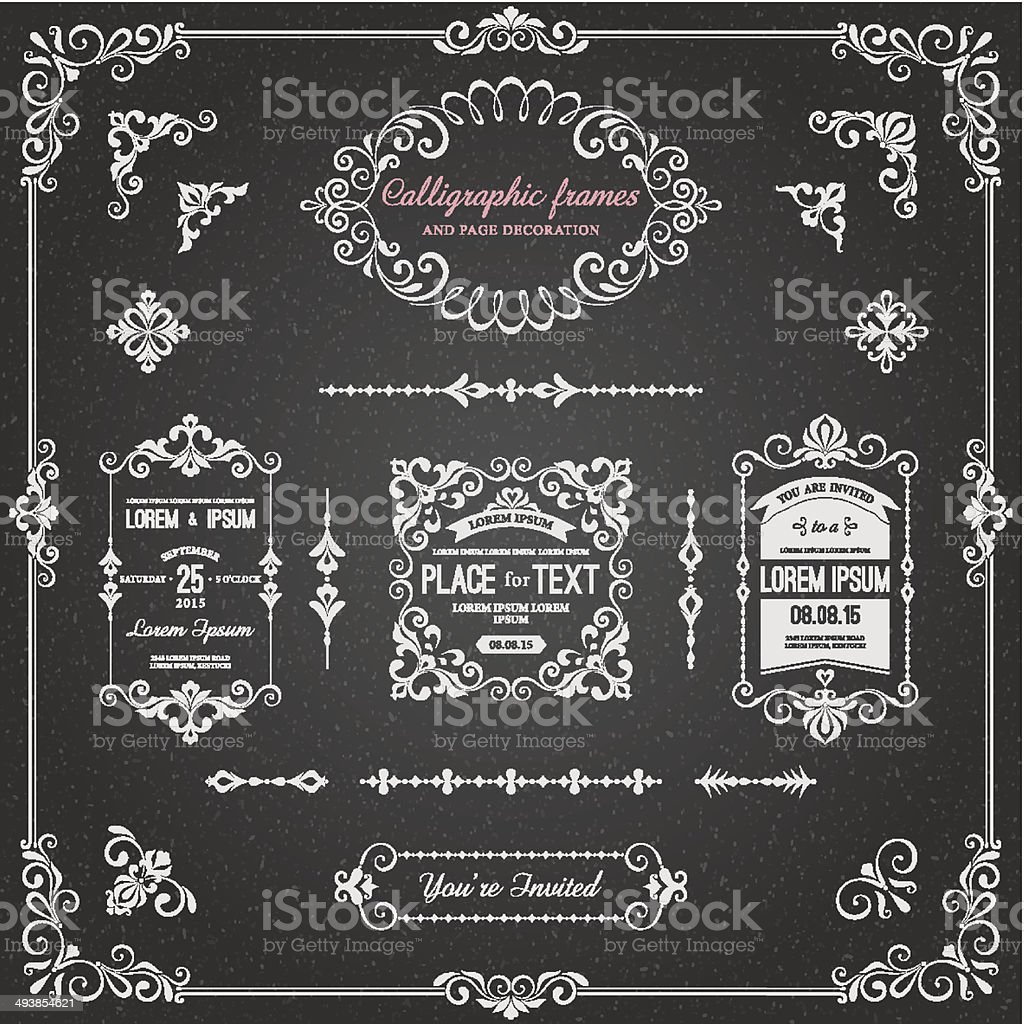 Chalkboard Calligraphic Frames and Page Decoration vector art illustration