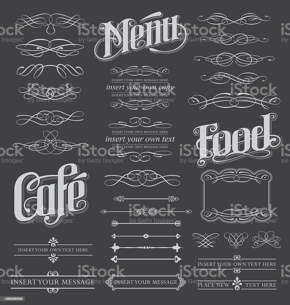 Conjunto de design de caligrafia de quadro-negro do - ilustração de arte em vetor