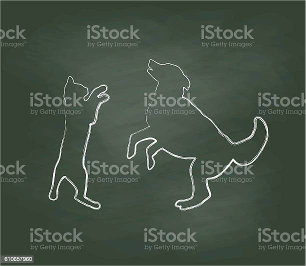 Chalkboard cat playing with dog vector illustration vector id610657960?b=1&k=6&m=610657960&s=612x612&h=km3mopkvz00akjuwsxx9i4ct0drijl6ah40ikewgd3g=