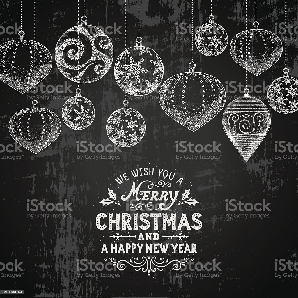 Chalkboard Christmas Card vector art illustration