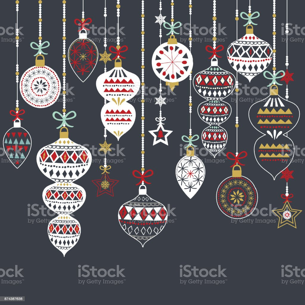 Chalkboard Christmas Ornament Set vector art illustration