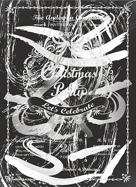 chalkboard christmas party wreath invitation - office party stock illustrations, clip art, cartoons, & icons