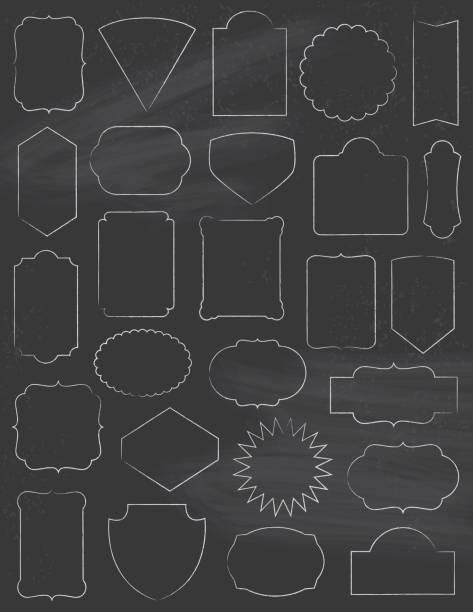 Chalkboard Classic Frames Set vector art illustration