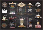 Chalkboard coffee and desserts menu list designs set