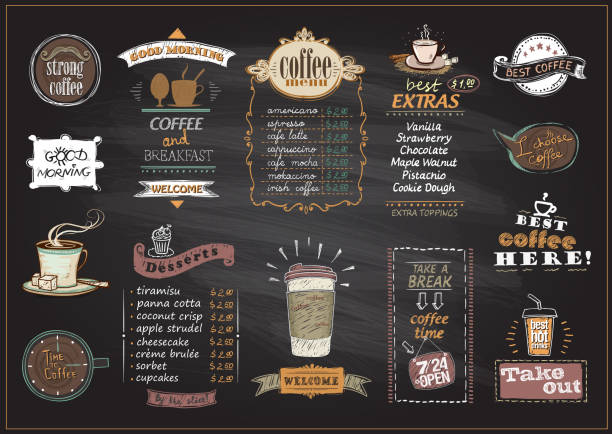 Chalkboard coffee and desserts menu list designs set - ilustración de arte vectorial
