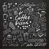 Chalkboard Hand drawn coffee doodles. Vector element and symbols. Chalk Drawing