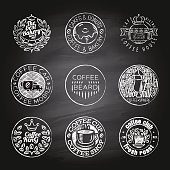 Icon set coffee,cafe shop and bakery bakery, lettering symbols and logos on a chalkboard background.