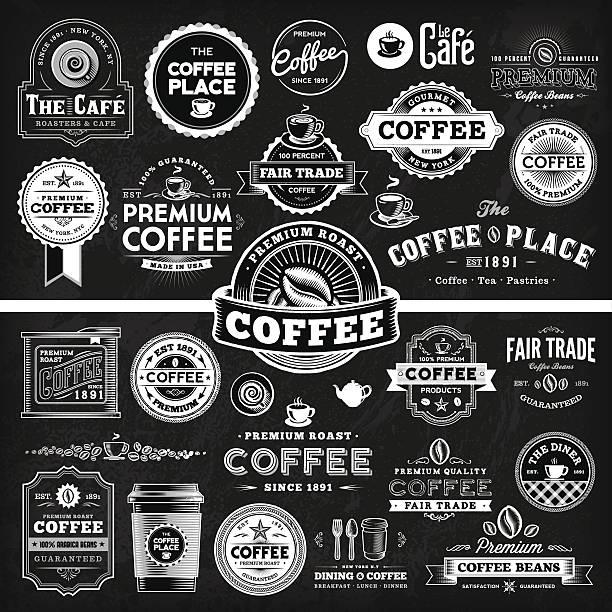 ilustrações de stock, clip art, desenhos animados e ícones de chalkboard café rótulo megaset - coffe shop