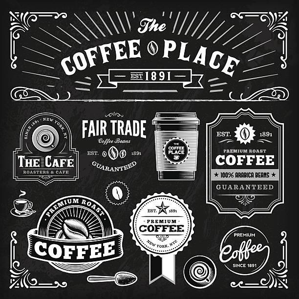黒板コーヒーラベルのセット - コーヒー点のイラスト素材/クリップアート素材/マンガ素材/アイコン素材