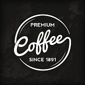 A chalkboard coffee-themed label. EPS 10 file, with transparencies (overall layer effects only), layered & grouped.
