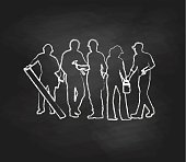 A chalk outline vector silhouette illustration of construction workers including a man with lumber, a woman with a paint can, and a man with tools.
