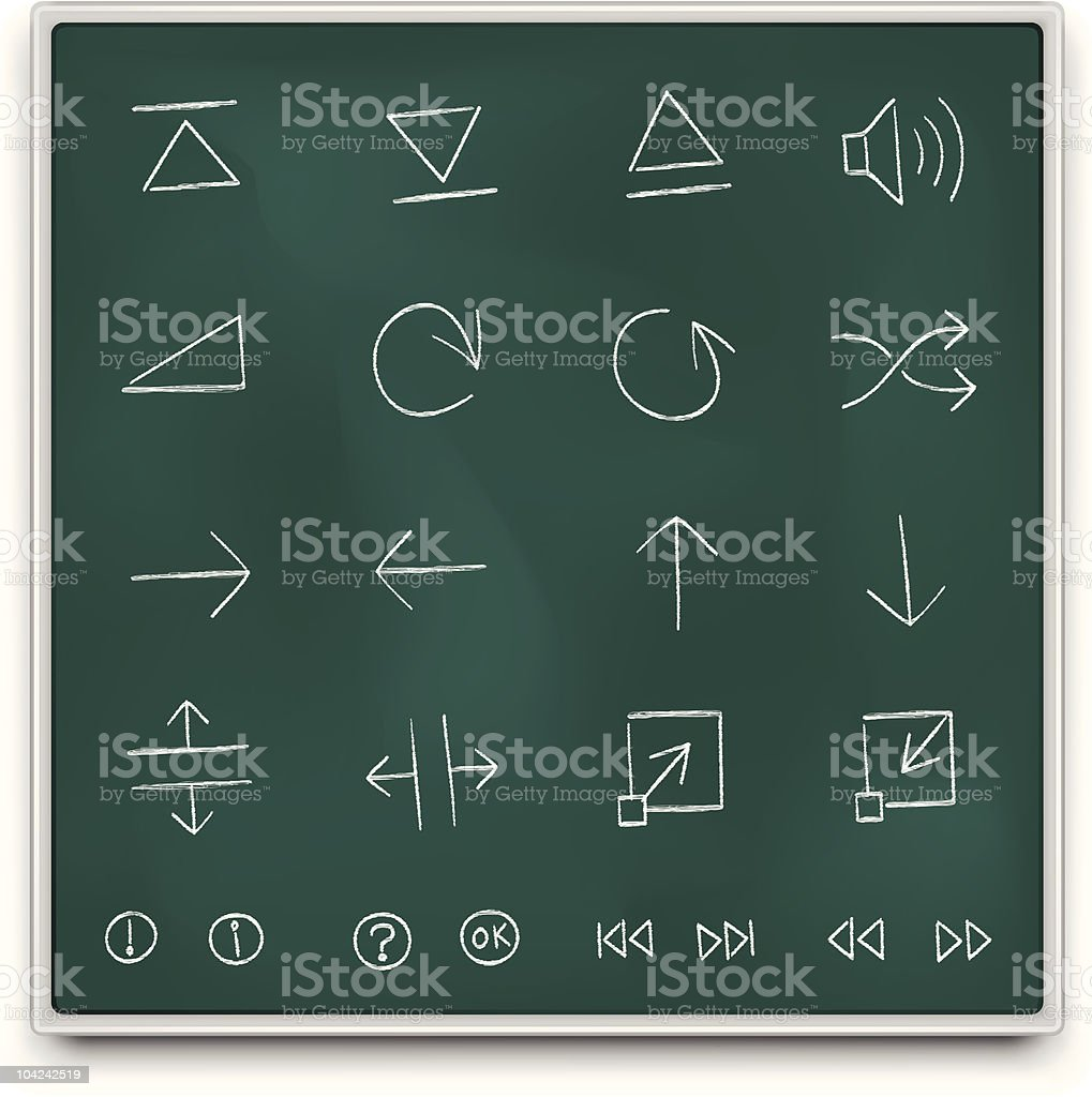 Chalkboard control icons royalty-free stock vector art