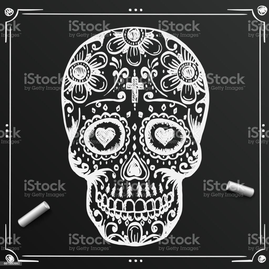 Chalkboard Day Of The Dead Skull Sketch Draw Sugar Flower