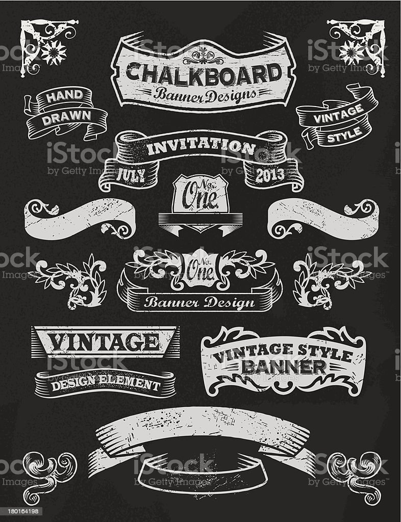 Chalkboard Design Elements. Frames and banners vector art illustration