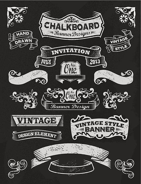 Chalkboard Design Elements. Frames and banners vector art illustration
