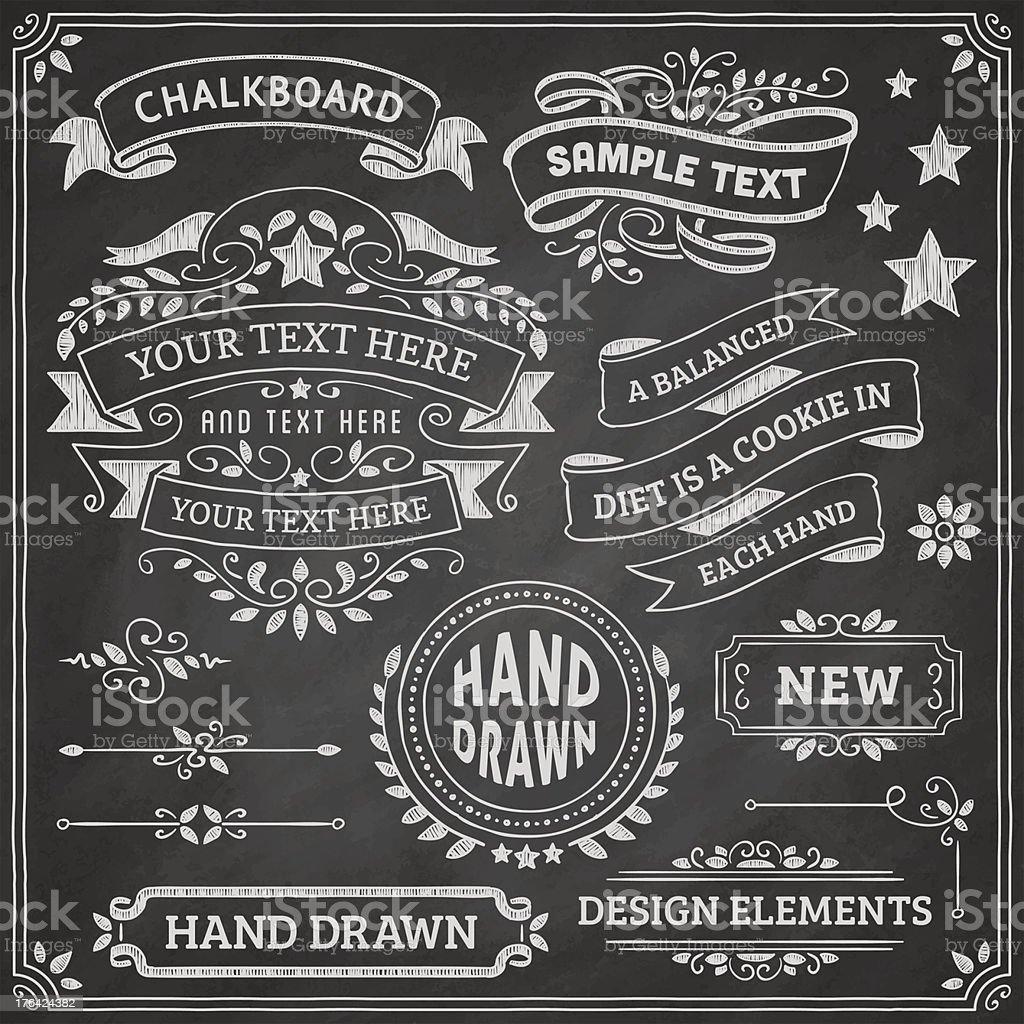Chalkboard Design Elements vector art illustration