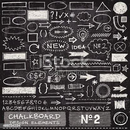 Hand drawn arrows,frames,speech bubbles,alphabet and other design elements on chalkboard texture. EPS 10 file with transparencies.File is layered with global colors.Texture can be removed.More works like this linked below.