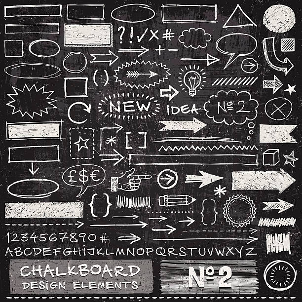 Chalkboard Design Elements Hand drawn arrows,frames,speech bubbles,alphabet and other design elements on chalkboard texture. EPS 10 file with transparencies.File is layered with global colors.Texture can be removed.More works like this linked below. alphabet symbols stock illustrations