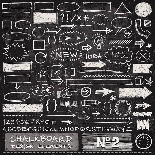 chalkboard design elements - alphabet symbols stock illustrations