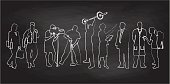 A chalk outline vector silhouette illustrationof various lifesyles and occupations including business woman, constuction worker, cameraman, weightlifter, teacher, business man, doctor, and backpacker.