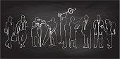 Chalkboard Different Folks Vector Illustration