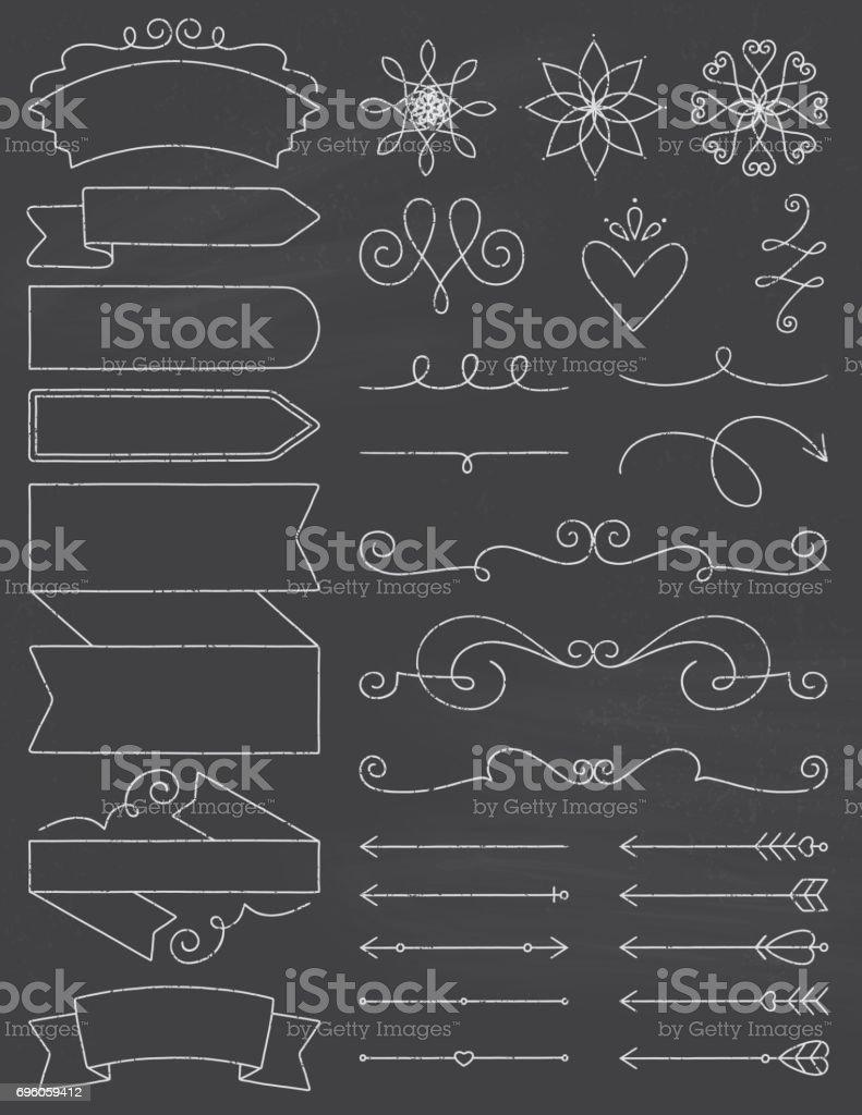 Chalkboard Doodle Design Elements vector art illustration