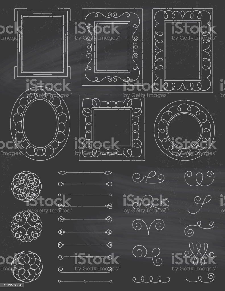Chalkboard Doodle Frames and Elements vector art illustration