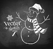 Chalkboard drawing of cute snowman. Vector illustration.