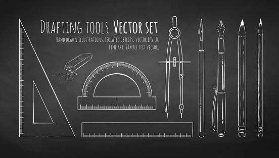 Chalkboard drawing of drafting tools.