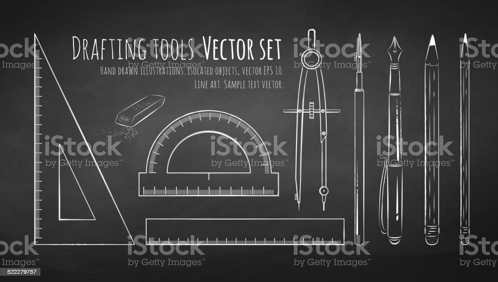 Chalkboard herramientas de dibujo de la redacción. - ilustración de arte vectorial
