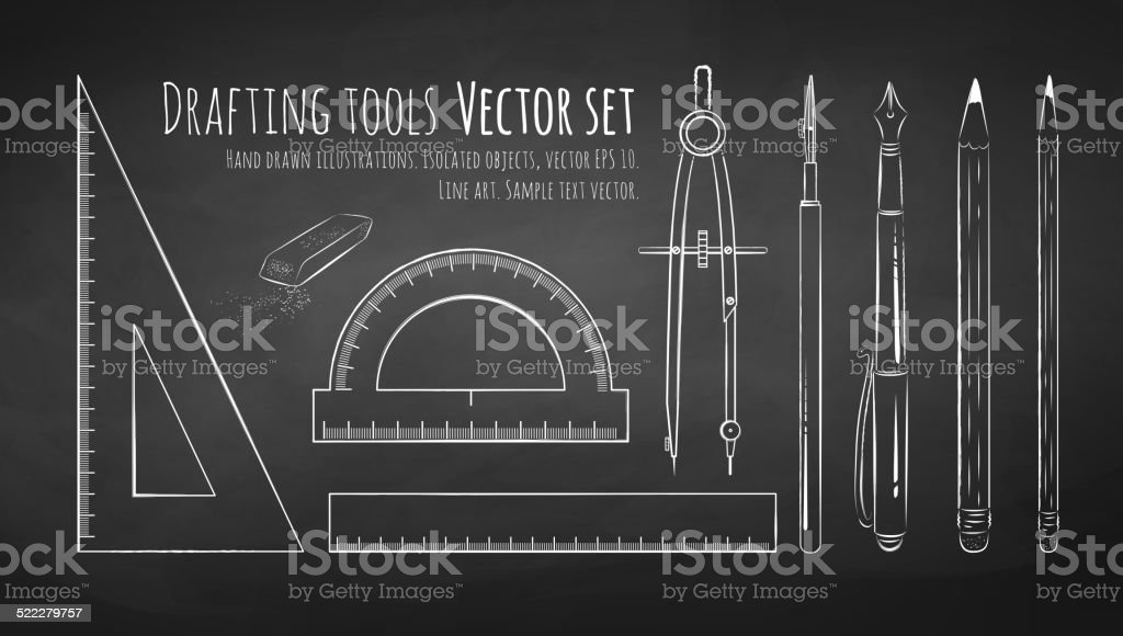 Chalkboard drawing of drafting tools. vector art illustration