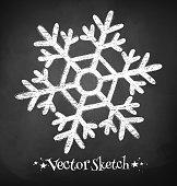 Chalkboard drawing of snowflake. Vector illustration.