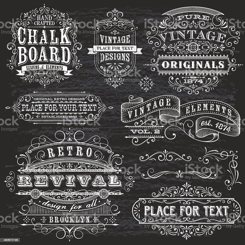 Chalkboard Effect Frames and Elements royalty-free chalkboard effect frames and elements stock vector art & more images of antique