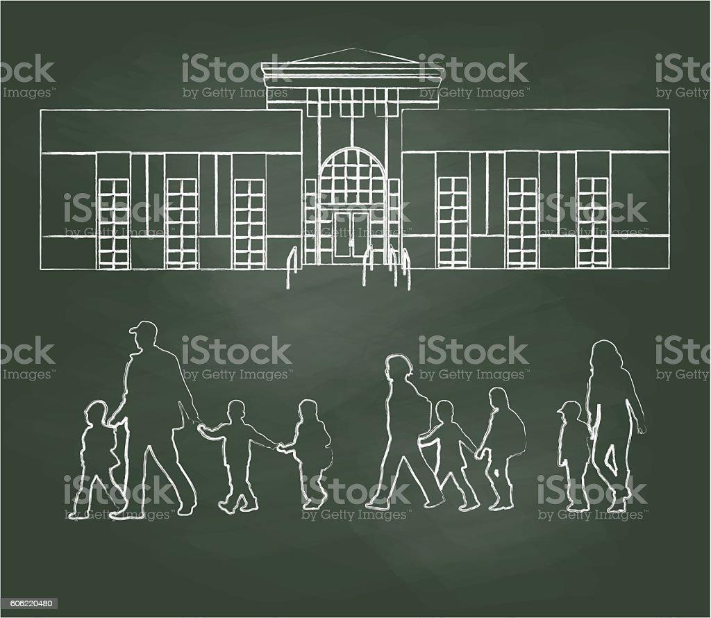 Chalkboard Elementary School Families Vector Illustration - ilustración de arte vectorial