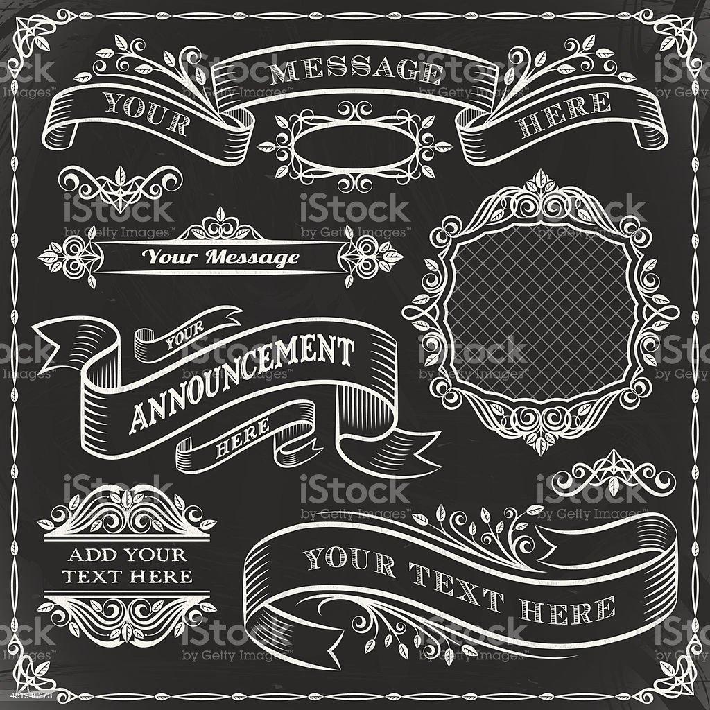Chalkboard Elements Set royalty-free chalkboard elements set stock vector art & more images of blackboard
