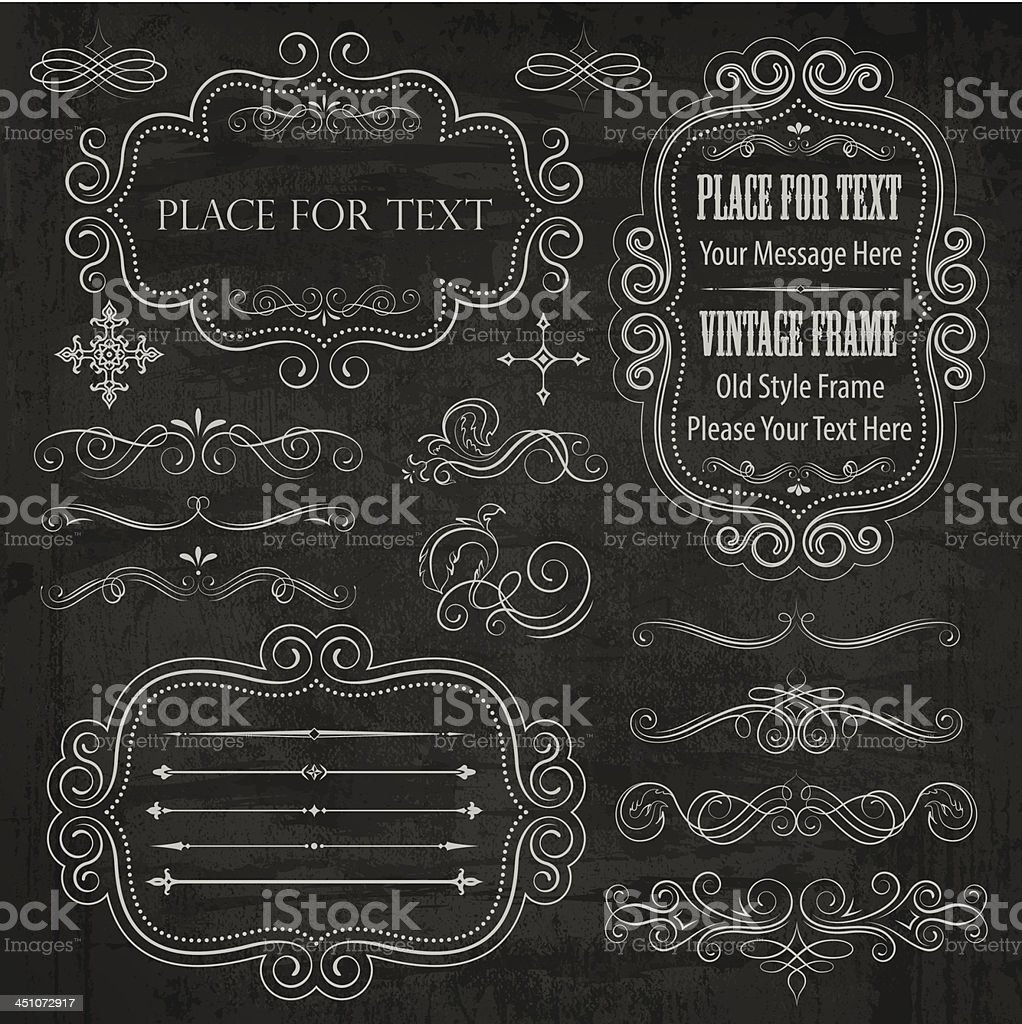 chalkboard elements stock vector art more images of abstract