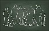 Chalkboard Family Reunion Vector Illustration