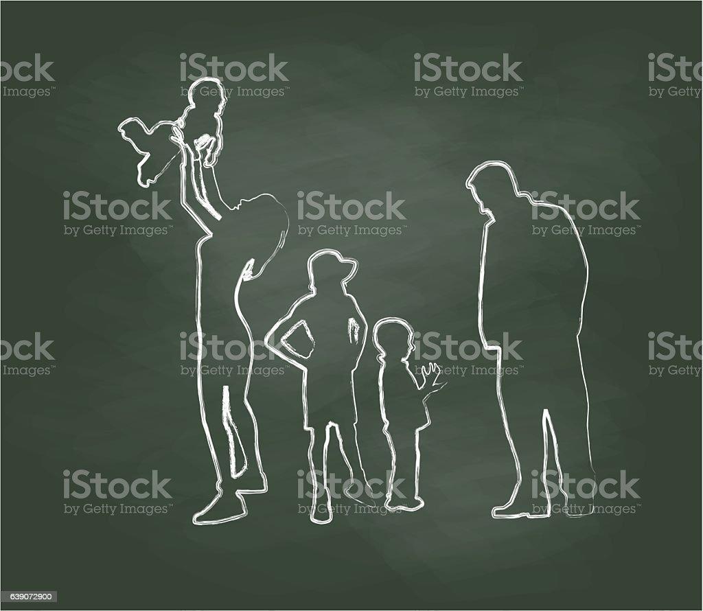 Chalkboard Family Time Vector Illustration vector art illustration