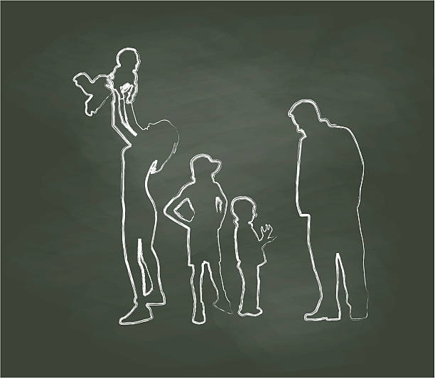 Chalkboard Family Time Vector Illustration vector art illustration