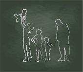 Chalkboard Family Time Vector Illustration