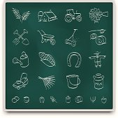 Chalkboard farm icons