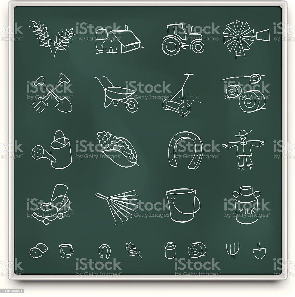 Chalkboard farm icons vector art illustration