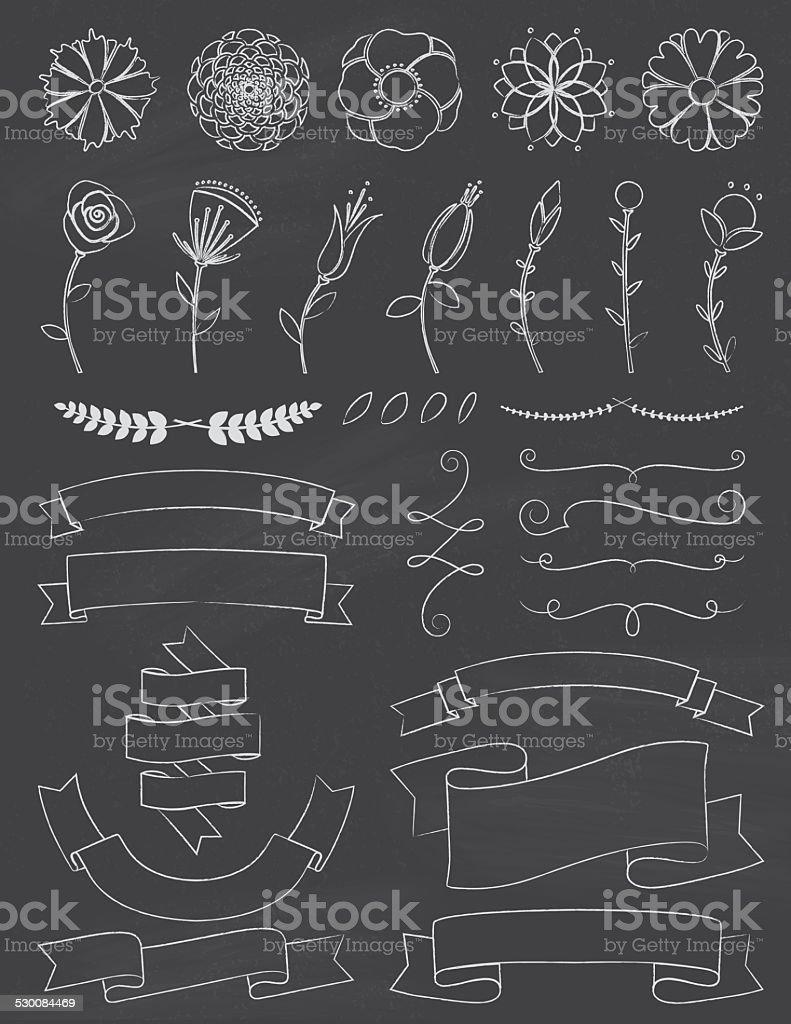 Chalkboard Flowers and Ribbons Design Elements vector art illustration