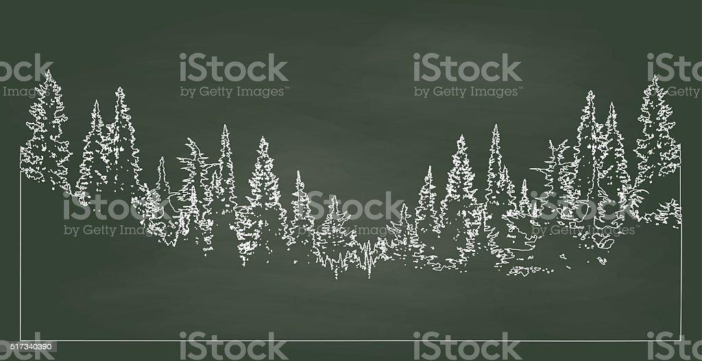Chalkboard Forest vector art illustration