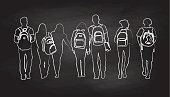 A chalk outline vector silhouette illustration of a group of seven high school students walking together in a row wearing backpacks including young men and young women.