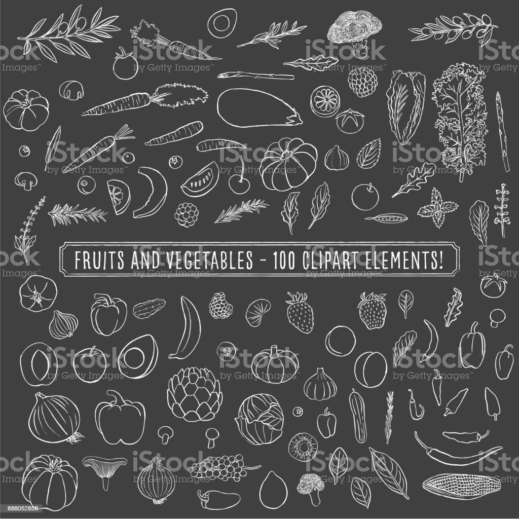 Chalkboard Fruits and Vegetables vector art illustration