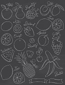 A collection of fruit done in chalk on a chalkboard background. Apple, Pear, Raspberry, Peach, Kiwi, Strawberry, Lemon, Orange, Blueberry, Apricot, Grape, Watermelon, Cherry, Pineapple, Lime, Banana.