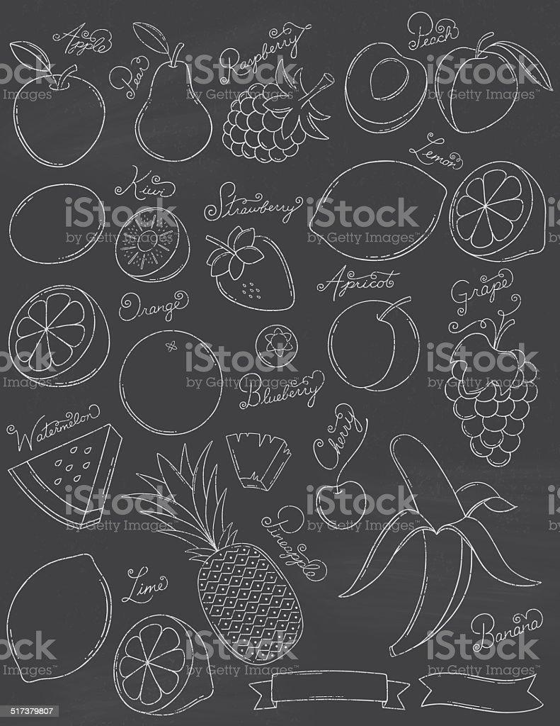 Chalkboard Fruits vector art illustration